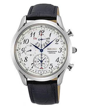 Со стрелками кожаные белые часы с кожаным ремешком круглые Seiko