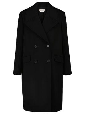 Черное шерстяное пальто Alexander Mcqueen
