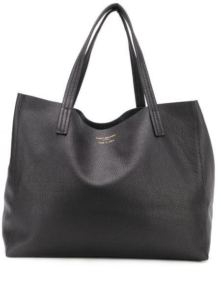 Черная сумка шоппер круглая с камнями Kurt Geiger London