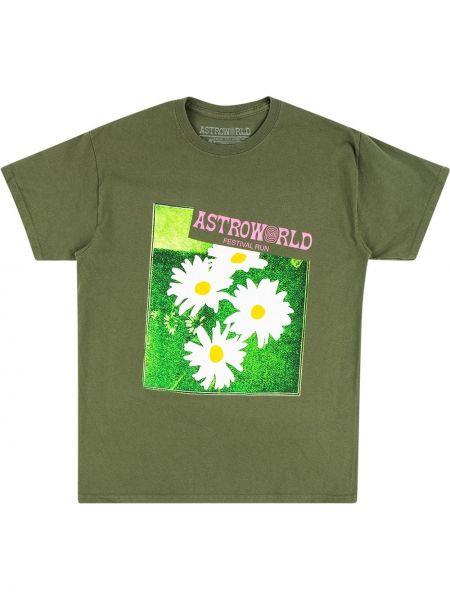 Лонгслив с принтом - зеленая Travis Scott Astroworld