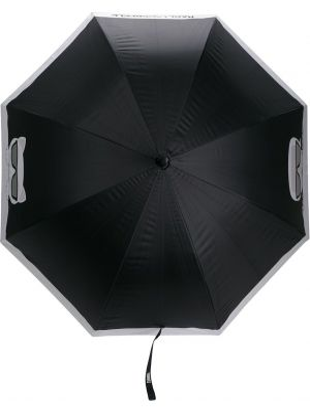 Czarny parasol z printem srebrny Karl Lagerfeld