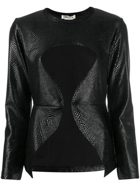 Czarny top z długimi rękawami z nylonu Comme Des Garcons