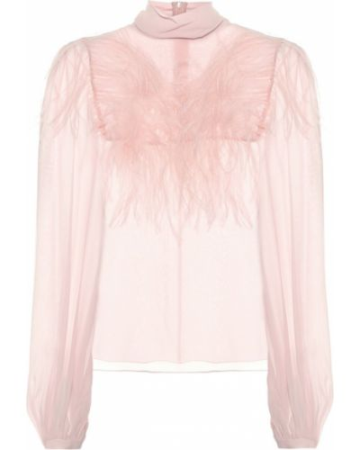 Шелковая розовая блузка с кокеткой с перьями Giambattista Valli