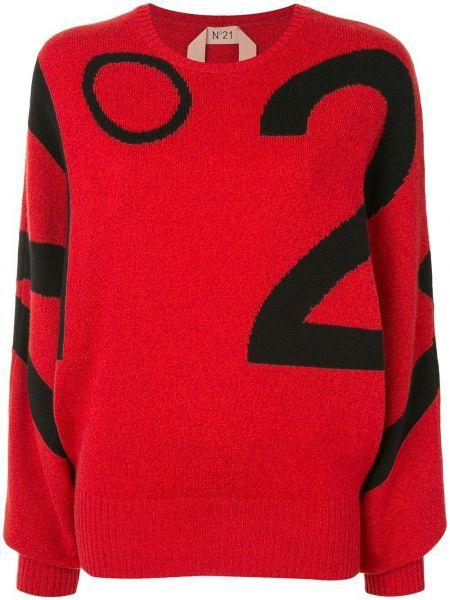 Красный шерстяной свитер N°21