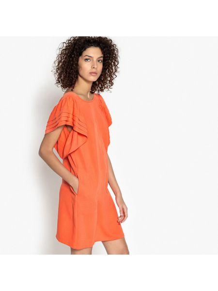 Оранжевое прямое платье мини с короткими рукавами круглое See U Soon
