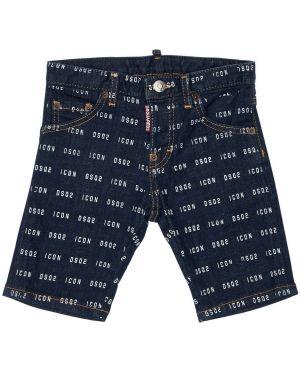 Синие джинсовые шорты стрейч Dsquared2