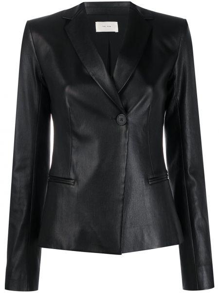 Черный приталенный кожаный пиджак The Row