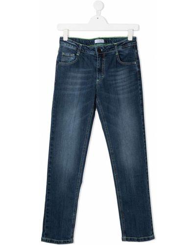 Хлопковые классические синие джинсы на молнии Cesare Paciotti 4us Kids