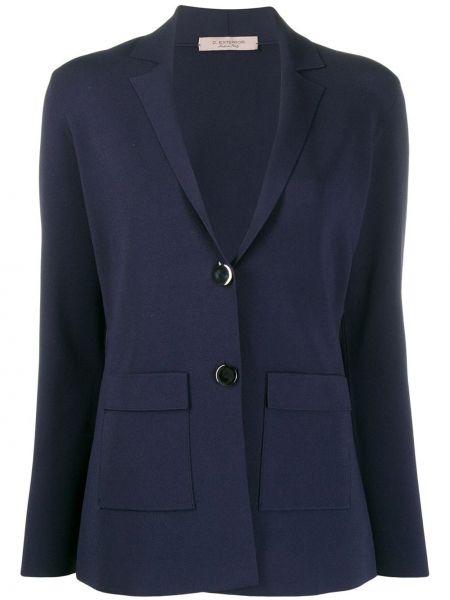 Синий приталенный классический пиджак с карманами из вискозы D.exterior