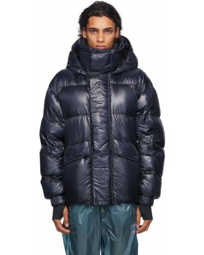 Czarny długi płaszcz z kapturem z klamrą Moncler Grenoble