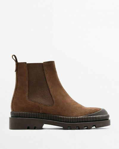 Коричневые ботинки челси осенние Massimo Dutti