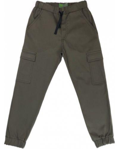 Хлопковые брюки хаки Kit-lime