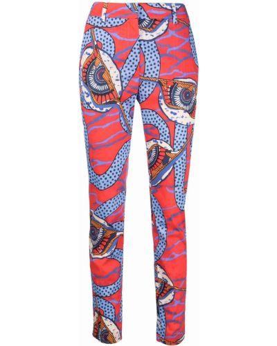 Красные хлопковые брюки с потайной застежкой Stella Jean