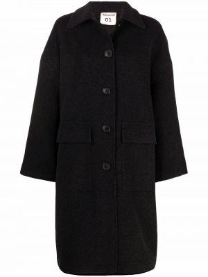 Серое шерстяное пальто Semicouture