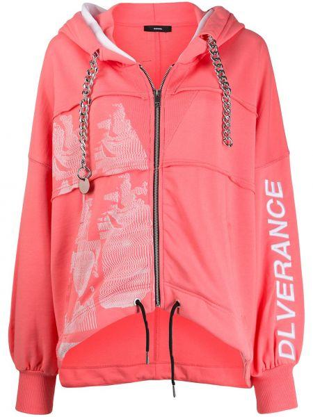 Куртка с капюшоном розовая на молнии Diesel