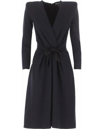 Czarna sukienka wieczorowa z wiskozy Emporio Armani
