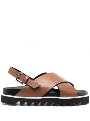 Коричневые кожаные сандалии с пряжкой P.a.r.o.s.h.