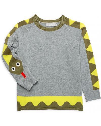Хлопковый длинный свитер с рукавом реглан с манжетами Stella Mccartney