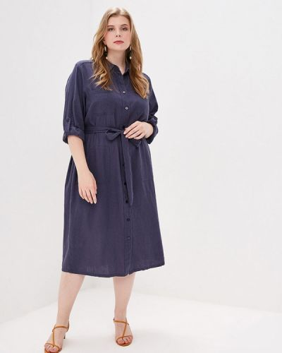 Повседневное платье весеннее синее Ulla Popken