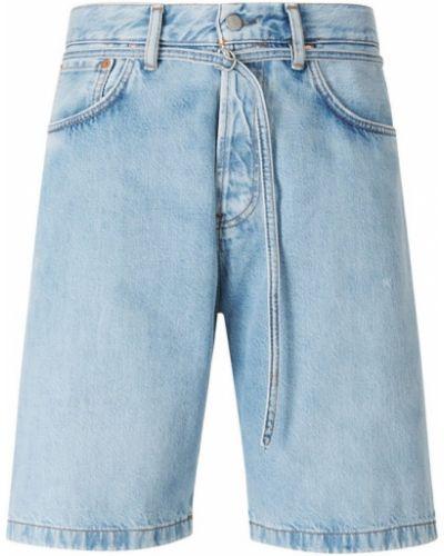 Niebieskie szorty jeansowe z paskiem bawełniane Acne Studios