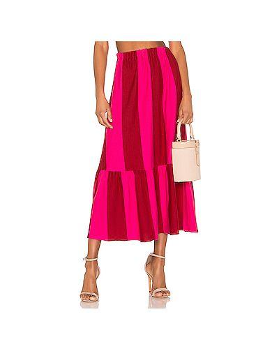 Платье миди розовое в полоску Mds Stripes