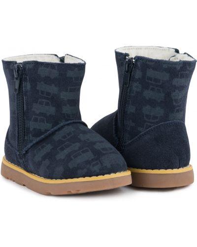 Брендовые синие кожаные угги Kdx