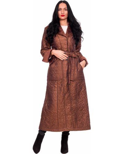 Пальто с поясом на синтепоне с отложным воротником Lacywear