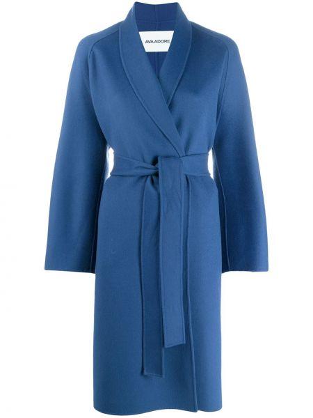 Синее длинное пальто с капюшоном Ava Adore