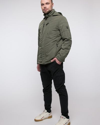 Зеленая утепленная куртка с воротником Snowimage