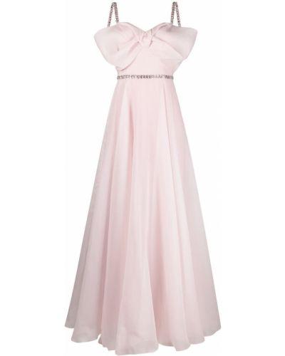 Розовое платье макси без рукавов с бантом Jenny Packham