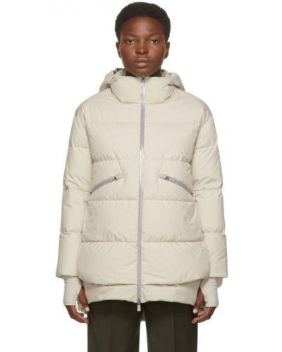 Белое пуховое длинное пальто с капюшоном Herno