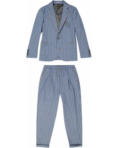 Niebieski garnitur w paski bawełniany Brunello Cucinelli Kids