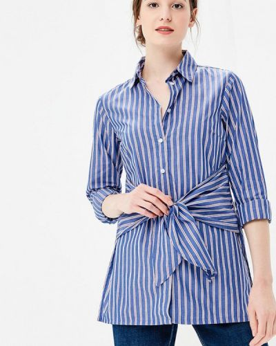 Блузка с бантом синяя Piazza Italia