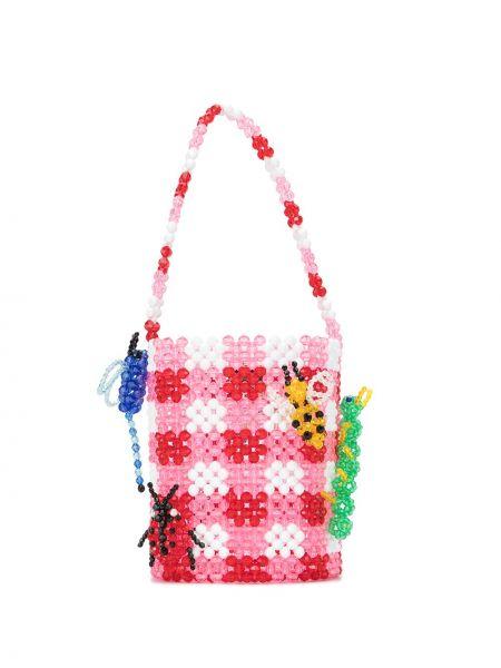 Хлопковая розовая сумка с подвесками Susan Alexandra