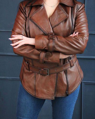 Кожаная куртка классическая - коричневая Rozetka