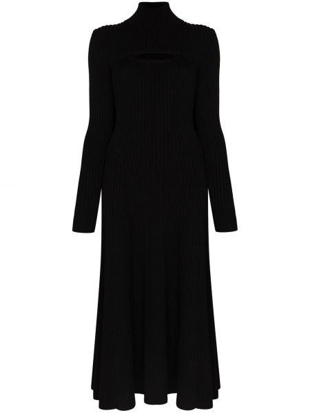 Платье миди в рубчик - черное Rosie Assoulin