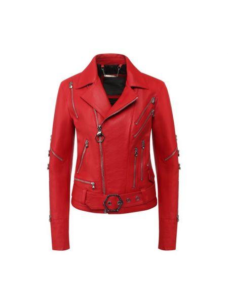 Кожаная куртка красная Philipp Plein