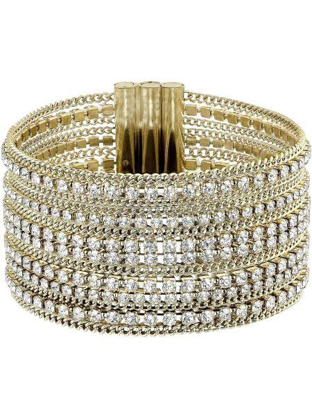 Золотой браслет с камнями золотой Swarovski