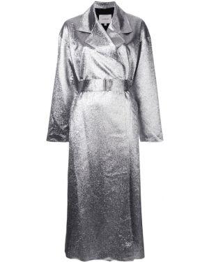 Серебряное пальто металлическое с капюшоном Layeur