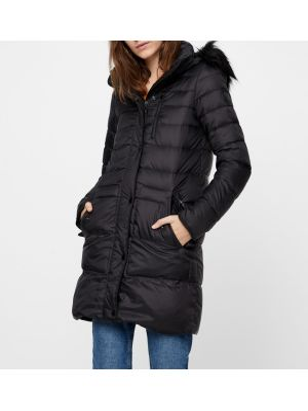 Стеганая куртка с капюшоном длинная Vero Moda