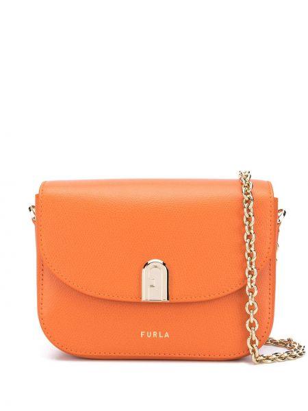 С ремешком оранжевая сумка на цепочке из натуральной кожи с заплатками Furla