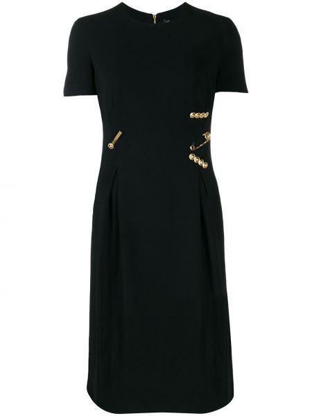 Приталенное шелковое платье миди на молнии с вырезом Versace