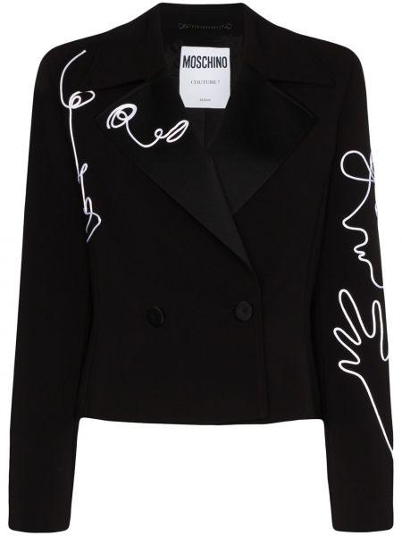 Черный пиджак двубортный с воротником Moschino