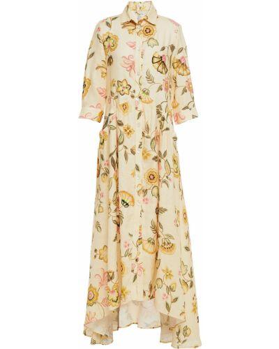 Льняное пляжное желтое платье макси Anjuna