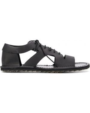 Czarne sandały skorzane sznurowane Yohji Yamamoto
