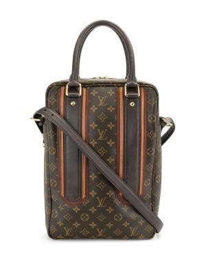 Brązowy skórzany teczka z kieszeniami Louis Vuitton
