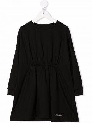 Czarna sukienka długa z długimi rękawami Simonetta