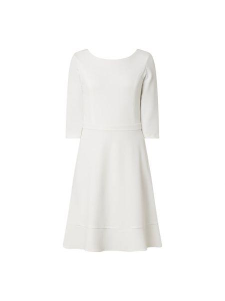 Biały z rękawami sukienka koktajlowa z dekoltem okrągły Paradi