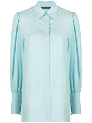 Klasyczna niebieska klasyczna koszula z długimi rękawami Alberta Ferretti