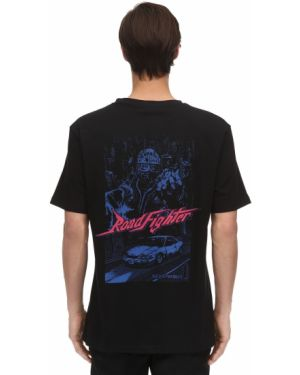 Prążkowany czarny t-shirt bawełniany Guerrilla Group